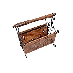 Crafts A to Z Wooden & Iron Magazine Holder With Handcarving Work Size(LxBxH-14.5x7.5x13)