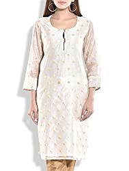 Tagaai Women's Silk Cotton Long Kurta Natural - Large