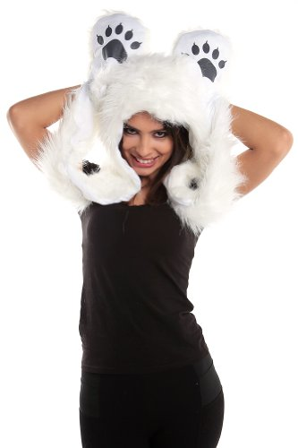 Faux FUR Animal Hats Hoods White Polar Bear Ski with Mittens Unisex Gloves (Bear Hood With Paw Scarf)