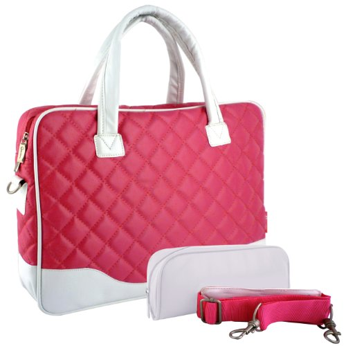 14.1 inch Pink Diamond Quilted Design with White Accent Trim Bubble Sparkle Padded Laptop Computer Notebook Sleeve Division Tote Briefcase Carry Case Messenger Cold-shoulder Bag