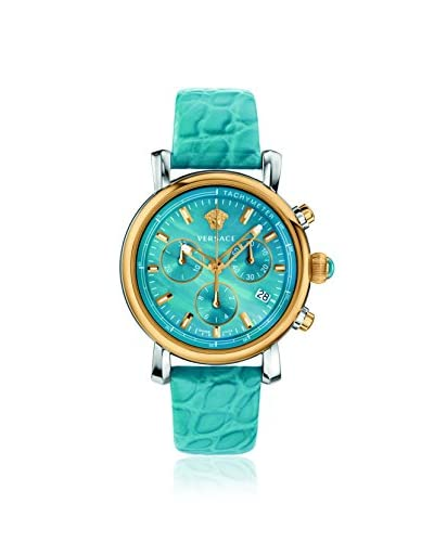 Versace Women's Day Glam Blue/Mother of Pearl Leather Calfskin Watch