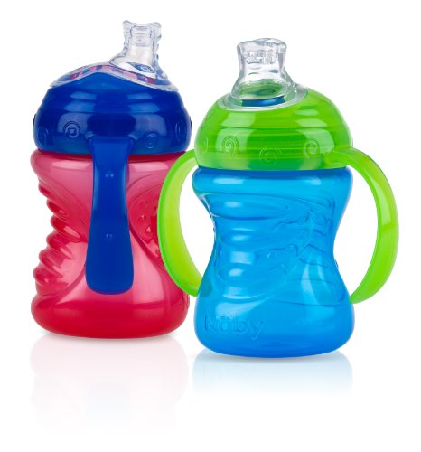 Nuby No-Spill Super Spout Grip N' Sip, Red and Blue, 4 Plus Months, 2 Count