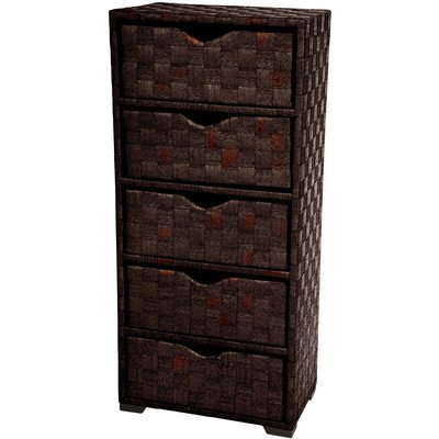 Oriental Furniture Warm Earth Tone Chocolate Dark Color Rattan Look, 25-Inch 5 Drawer Natural Fiber Nightstand End Table Small Storage Chest, Mocha