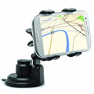 Intek Car Windshield & Dashboard Mount for Iphone 4/4s/5/5c, Galaxy S4/S3/S2, Galaxy Note 1/2/3 HTC One,/One x, Droid Razr Maxx - Retail Packaging