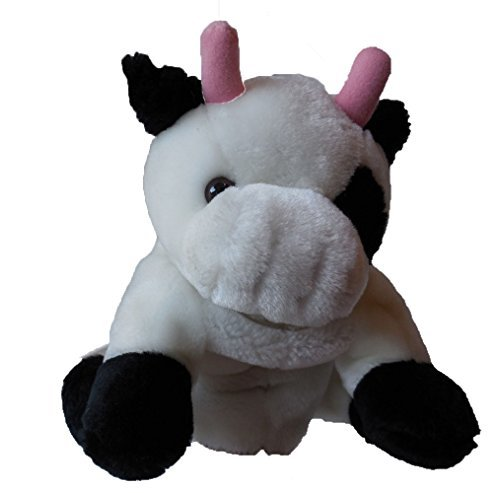 White and Black Plush Toy Puppet with Pink Horns - 1