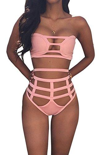Spring Fever Women's Hollow Out Bandage Bodycon Bikini Set Swimsuit Swimwear Pink S (US:00)