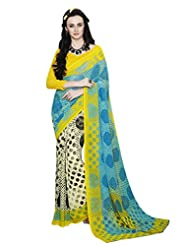 Yellow And Sky Blue Colour Georgette Casual Wear Polka Dot Print Saree 12017