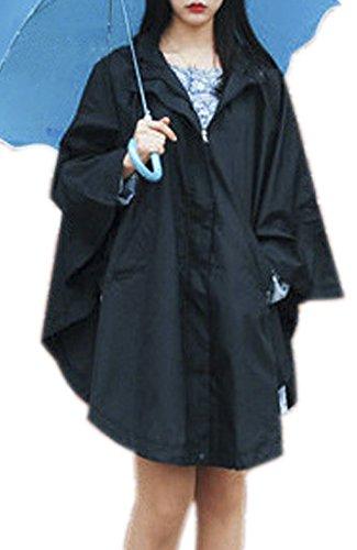 QZUnique Women's Waterproof Packable Rain Jacket Batwing-sleeved Poncho Raincoat Black (Women Raincoat With Hood compare prices)