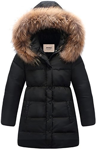 ZOEREA Big Girls Long Winter Parka Coat Puffer Down Jacket Padded Waterproof Outwear with Windbreaker Fur Hood Black