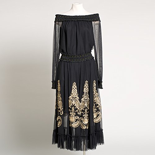 Women's Formal Western Wear Romantic Black and Gold Embroidered Outfit Tops & Skirt