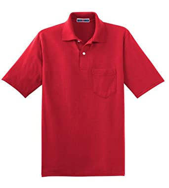Jerzees 5.6 oz., 50/50 Jersey Pocket Polo with SpotShield? - TRUE RED - S 5.6 oz., 50/50 Jersey Pocket Polo with SpotShield™