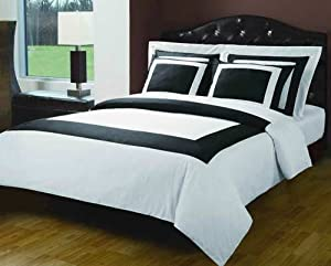 Black and white hotel 5 piece full queen - Black and white bedding sets ...
