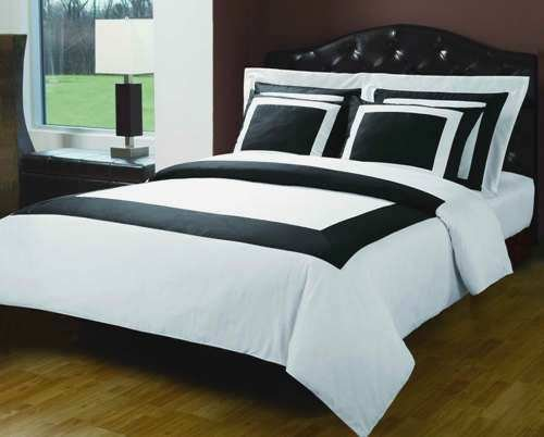 Luxury 5-PC Black with White 300 Thread Count Full/Queen Duvet Cover Set 100 % Egyptian Cotton comforter cover set with matching pillow shams By sheetsnthings