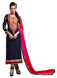 Women Icon Presents Embroidered Georgette Dress Material(Navy Blue)