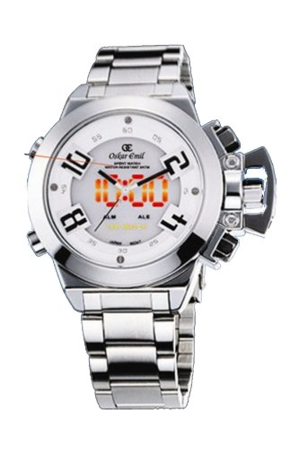 Oskar Emil Sigma White Sports Quartz Watch for Men with White Dial Analogue - Digital Display and Silver Stainless Steel Bracelet Sigma White
