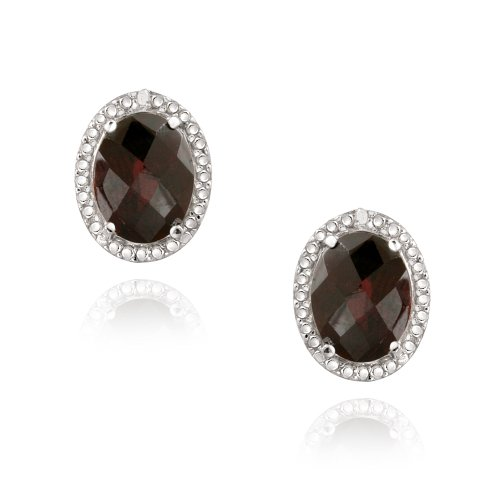 Sterling Silver 4.4ct Garnet & Diamond Accent Oval Earrings