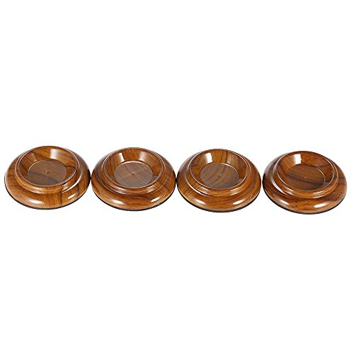 Hillside Fire 4pcs/set Double Round Acrylic Upright Piano Caster Cups w/ Rose Wood Pattern &EVA Anti-slip Mat