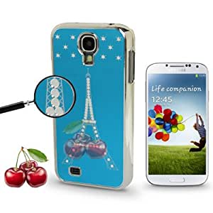Eiffel Tower Pattern Diamond Encrusted Plating Skinning Mirror Effect Plastic Case for Samsung Galaxy S4 i9500 (Blue)
