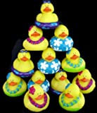 One Dozen (12) Rubber Duck Duckie Ducky LUAU DUCKIES Hawaiian Hula