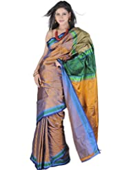 Exotic India Mustard Banarsi Sari With All Over Woven Triangles And Br - Mustard