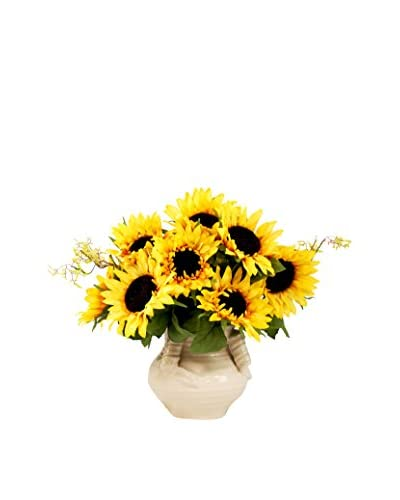 Creative Displays Sunflower Cluster with Budding Vine, Yellow/Brown/Crème