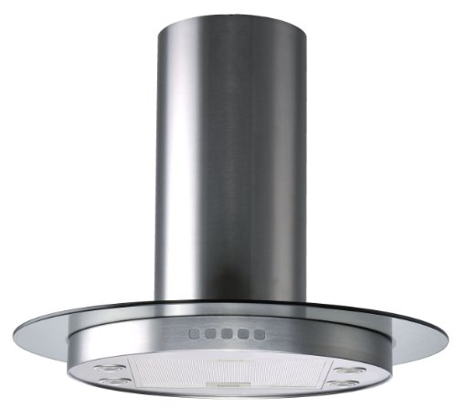 Kitchen Bath Collection HRG90-LED Circular Stainless Steel Island-Mounted Kitchen Range Hood with Tempered Glass Canopy and Touch Buttons (Round Range Hood compare prices)