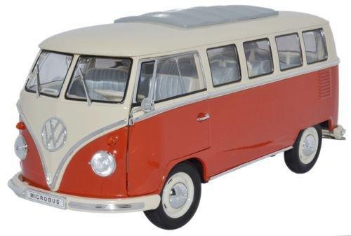 1:18 scale 1962 split screen vw Volkswagen Samba microbus - red (Vw Bus Model compare prices)