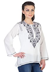 YAK International Cotton Blue Round Neck Kurti For Women - B00UAAW9NQ