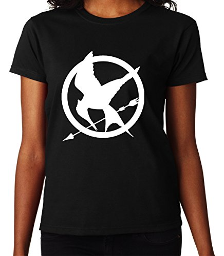 The Hunger Games Mockingjay White Symbol Great Women DonnaBlack T-shirt