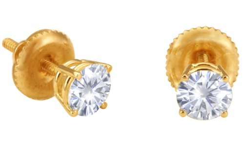 Spectacular! 14k Yellow-gold Pair 5.00mm each (1 CT TW) Round Moissanite Stud Earings by Vicky K Designs