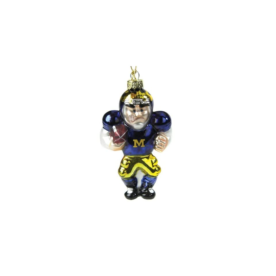 Michigan Wolverines NCAA Glass Player Ornament (4 Caucasian inch