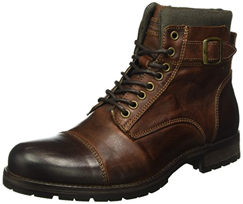 Jack & Jones Jfwalbany, Stivali Combat Uomo, Marrone (Brown Stone), 41 EU