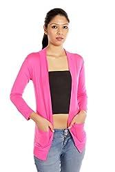 TeeMoods Full Sleeve Cotton Pink Shrug