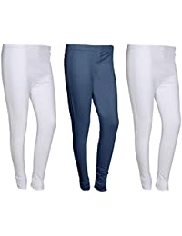 Indistar Women Cotton Legging Comfortable Stylish Churidar Full Length Women Leggings-White/Navy Blue-Free Size-Pack...