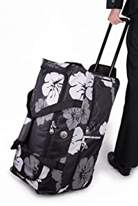 Men And Womens Girls Boys 26 Black White Flowers Wheeled Holdalltravel Luggage Holdall Weekend Bag Maternity Bag Hospital Bag Baby Bag School College Holdall Sport Gym Bag