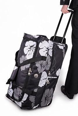 "Large 26"" Black & White Wheeled Holdall,Travel Luggage Holdall Weekend Bag, Maternity Bag, Hospital Bag, Baby Bag, School College Holdall, Sport Gym Bag."