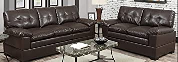 2-Pieces Sofa Loveseat Set in Espresso Finish by Poundex