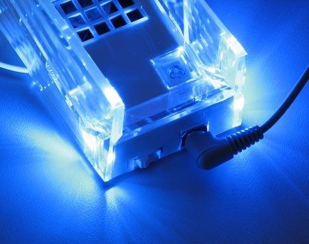 Blue Led Light + Cooling Fan Cooler Crystal Stand Dock For Nintendo Wii