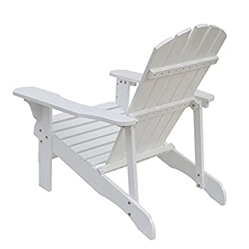 Songsen Fashion Outdoor Wood Adirondack Chairs/Muskoka Chair Patio Deck Garden Furniture (Adult,White)