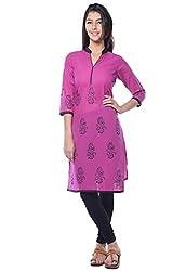 Navriti purple block print cotton kurta