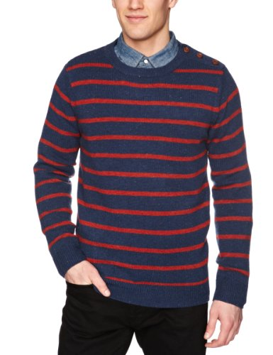 Selected Homme Oliver Stripe Split Crew Neck C Men's Jumper Insignia Blue Small