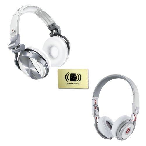 Pioneer Hdj-1500 Professional Dj Headphones (White) Bundle With Beats By Dr. Dre Mixr - Lightweight Dj Headphones (White) And Custom Designed Zorro Sounds Cloth