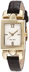 Nine West Women's NW/1282SVBN Strap Square Gold-Tone Brown Strap Watch