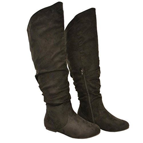 Twisted Faux Suede Wide Width Slouchy Casual Trendy Round Toe Mid Calf Slouch Thigh High Boots Fashion Stylish Sexy Shoes,7 C/D US,Black
