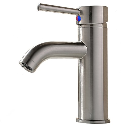 VCCUCINE Modern Commercial Stainless Steel Brushed Nickel Single Handle Vanity Vessel Sink Bathroom Faucet, Sink Mixer Faucet With Two 3/8