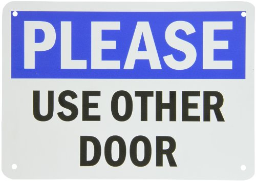 "Smartsign Plastic Sign, Legend ""Please - Use Other Door"", 7"" High X 10"" Wide, Black/Blue On White"