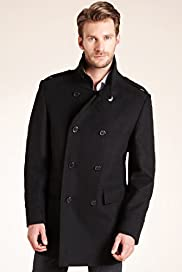 Big & Tall Funnel Neck Double Breasted Coat with Wool