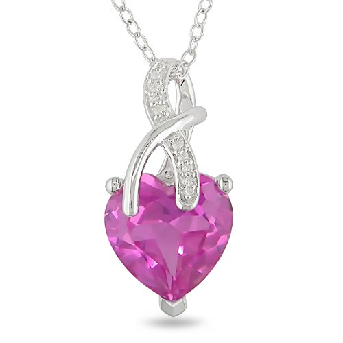 Sterling Silver 4 1/5 CT TGW Created Pink Sapphire 0.024 CT TDW Diamond Fashion Pendant (G-H, I3)