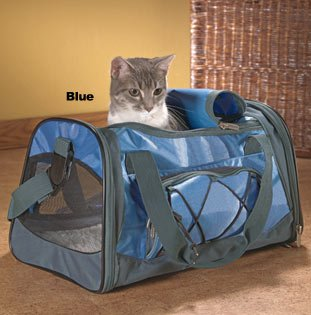 "Sherpa Sport Duffle Pet Dog Cat Airline Approved Carrier Medium Blue 18""l X 11""wx 10.5""h"