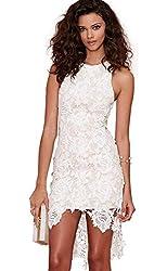 SheIn Women's Sleeveless Lace Crochet High Low Summer Party Dress